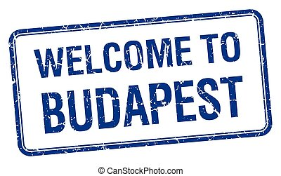 welcome to Budapest blue grunge square stamp