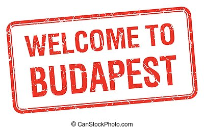 welcome to Budapest red grunge square stamp