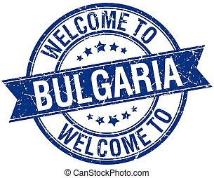welcome to Bulgaria blue round ribbon stamp