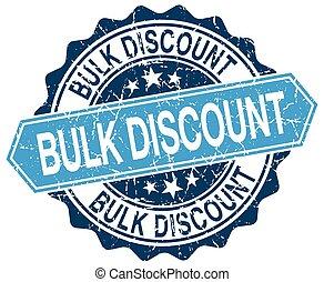 bulk discount blue round grunge stamp on white