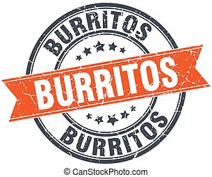 burritos round orange grungy vintage isolated stamp