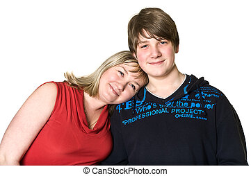 Young mother and teenage son