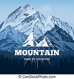 Mountains In Winter Poster - Typography poster of high rocky...