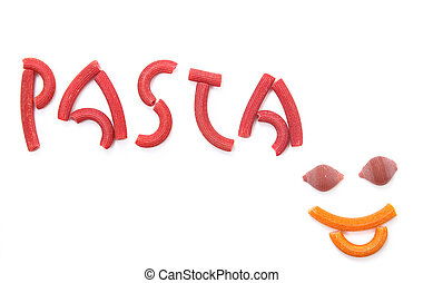 red pasta writing - Red macaroni spelling the word Pasta...
