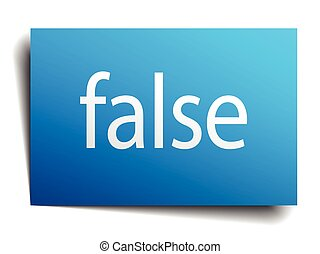 false blue paper sign on white background