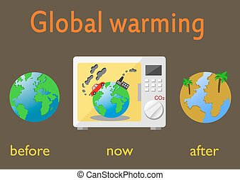 Global warming and climate change on Earth. Infographics...