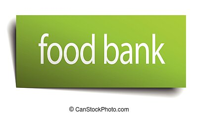 food bank green paper sign isolated on white