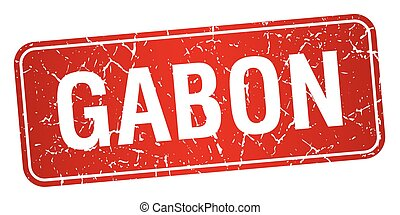 Gabon red stamp isolated on white background