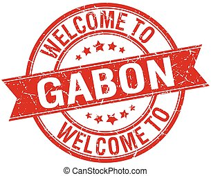 welcome to Gabon red round ribbon stamp