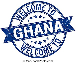 welcome to Ghana blue round ribbon stamp