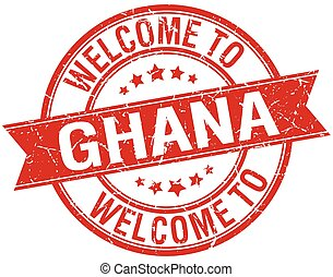 welcome to Ghana red round ribbon stamp