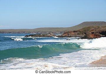 Molokai Hawaii Waves - Pacific Ocean waves wash a sandy...