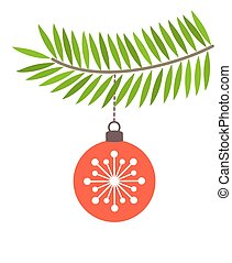 Red bauble on fir branch