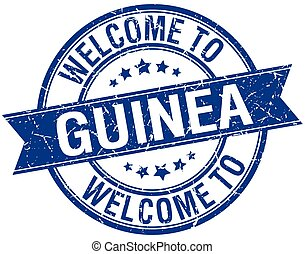 welcome to Guinea blue round ribbon stamp