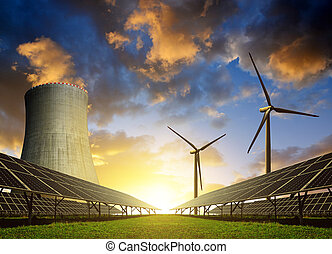 Energy resources concept. - Solar energy panels, wind...