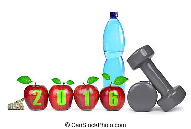 Concept New Year 2016 - Red apples, dumbbells and PET bottle...