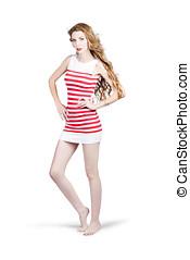 kvinna, magra, mode,  retro, bakgrund, lång, vit