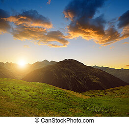 Switzerland Alps - Summer landscape in Switzerland Alps at...