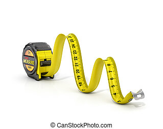 Concept of dimension. Tape measure in firm of snake.