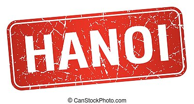 Hanoi red stamp isolated on white background
