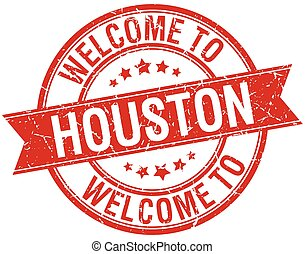 welcome to Houston red round ribbon stamp