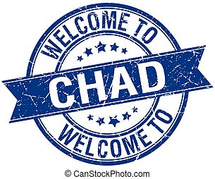 welcome to Chad blue round ribbon stamp
