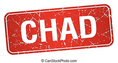 Chad red stamp isolated on white background