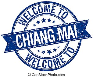 welcome to Chiang mai blue round ribbon stamp