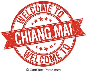 welcome to Chiang mai red round ribbon stamp