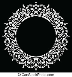 Mehndi, Indian Henna tattoo round w - Vector ornament -...