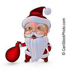 Santa Claus with gifts bag. 3D