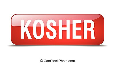 kosher red square 3d realistic isolated web button