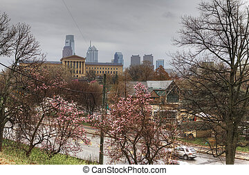 Philadelphia with blossoms in front