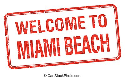 welcome to Miami Beach red grunge square stamp