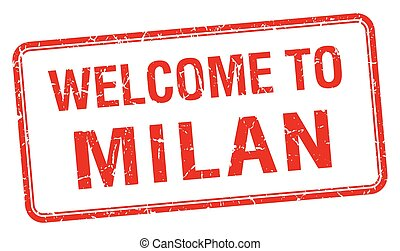 welcome to Milan red grunge square stamp