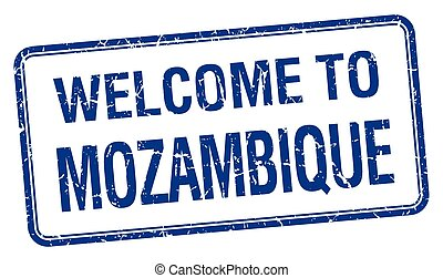 welcome to Mozambique blue grunge square stamp