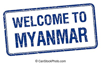welcome to Myanmar blue grunge square stamp