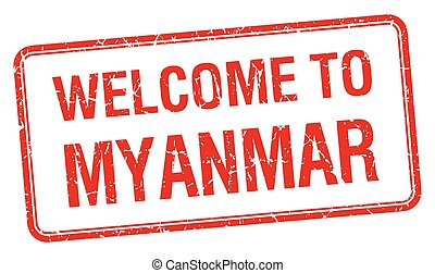 welcome to Myanmar red grunge square stamp