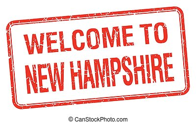 welcome to New Hampshire red grunge square stamp