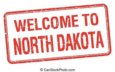 welcome to North Dakota red grunge square stamp