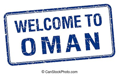 welcome to Oman blue grunge square stamp