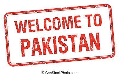 welcome to Pakistan red grunge square stamp