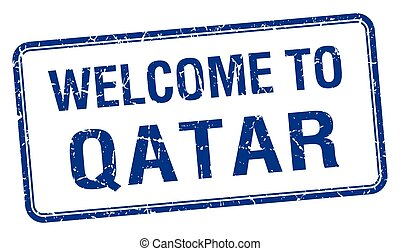welcome to Qatar blue grunge square stamp