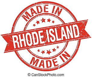 made in Rhode Island red round vintage stamp