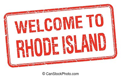 welcome to Rhode Island red grunge square stamp