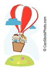 boy and girl aveling by hot air balloon