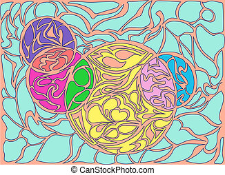 Vector illustration of doodle rounds Hand-drawn pattern...