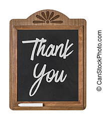 A chalkboard sign on a white background - Thank you