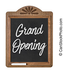 A chalkboard sign on a white background - Grand Opening