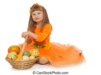 Little girl with basket - Adorable little girl with long ,...